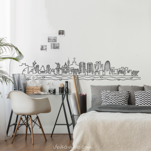 SKYLINE BARCELONA, vinilo decorativo pared de Ubika vinilo