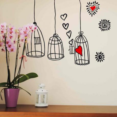 Tres jaulas vinilo decorativos para paredes o cristales - Cristales para paredes ...