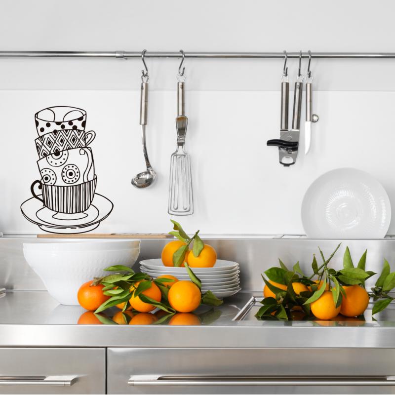 Mont n de tazas vinilos decorativos para cocinas ubika for Ubicacion de cocina