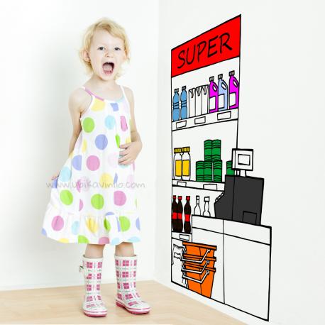 SUPERMERCADO, vinilo decorativo infantil, Ubika vinilo